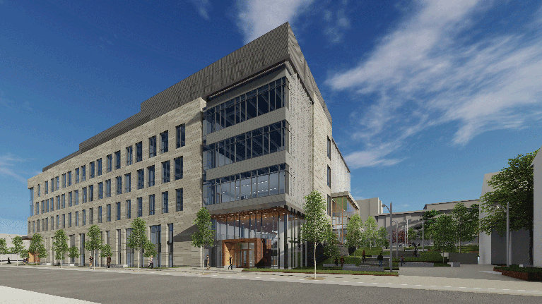 Artistic rendering of the northwest view of The Health, Science & Technology Building at Lehigh University