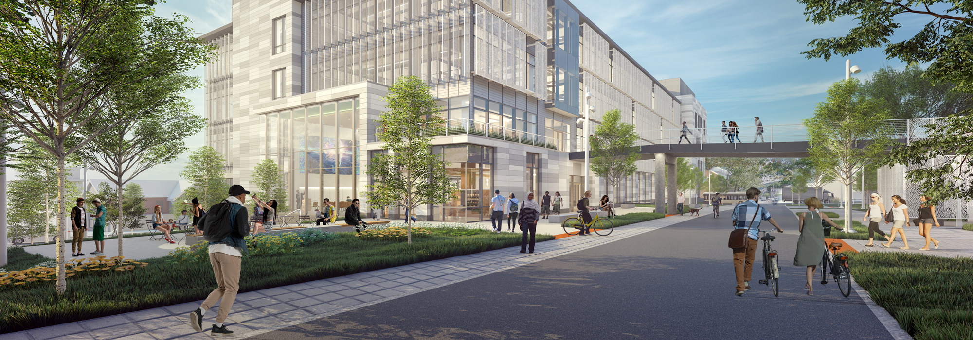 illustrated architectural rendering of the proposed Health, Science & Technology building on Lehigh University's campus