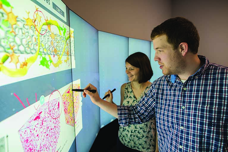 Image of a male and female student working in a data visualization lab