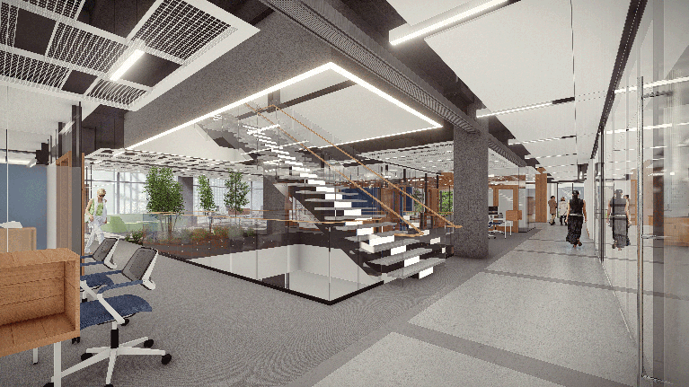 Architectural illustration of the interior and common spaces of the HST building