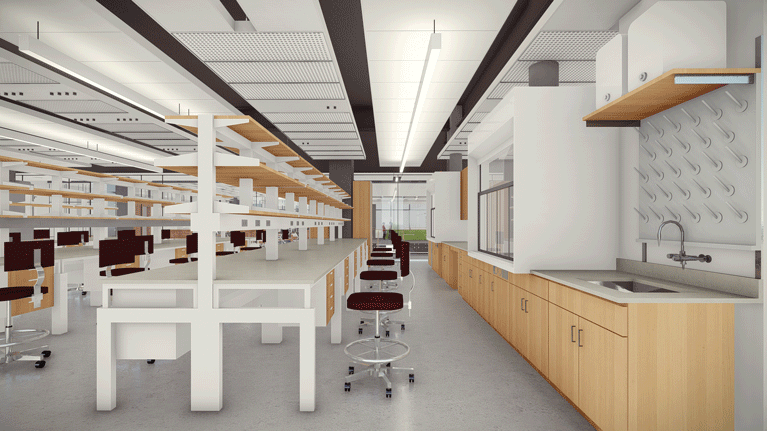 Architectural rendering of a lab space within HST