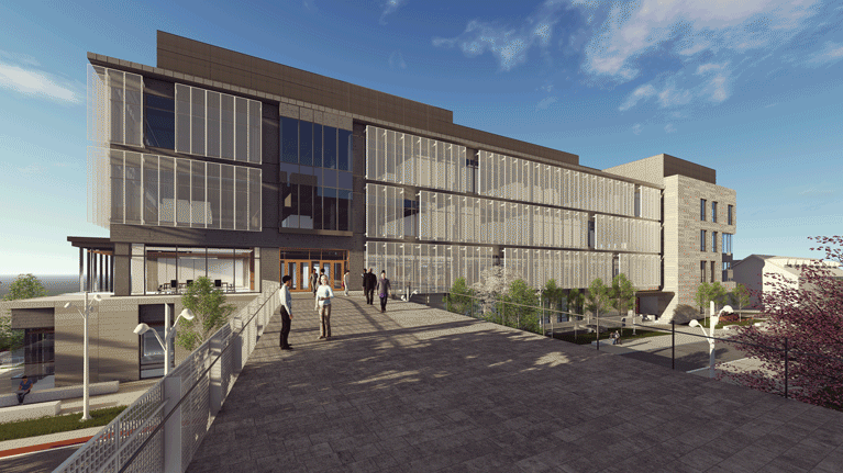 An architectural rendering of the exterior view of HST and how it will connect to Asa Packer Campus