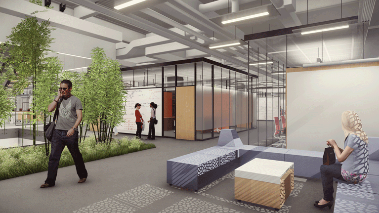 An architectural rendering of one of the indoor green spaces meant to encourage collaboration within HST