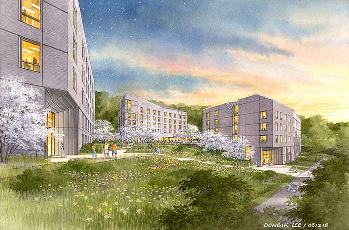 An architectural rendering of Maida House, part of the New Residential Housing Complex