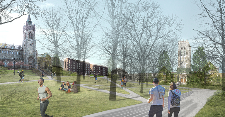 An architectural rendering of Memorial Walk with the New Residential Houses depicted