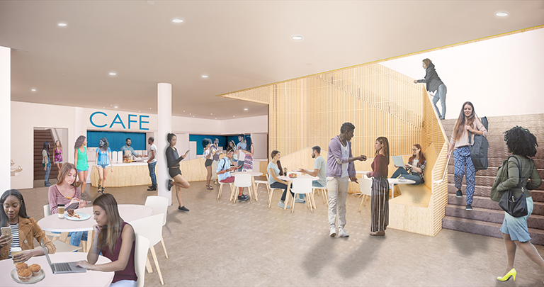 Architectural rendering of the Cafe in the New Residential Hosues