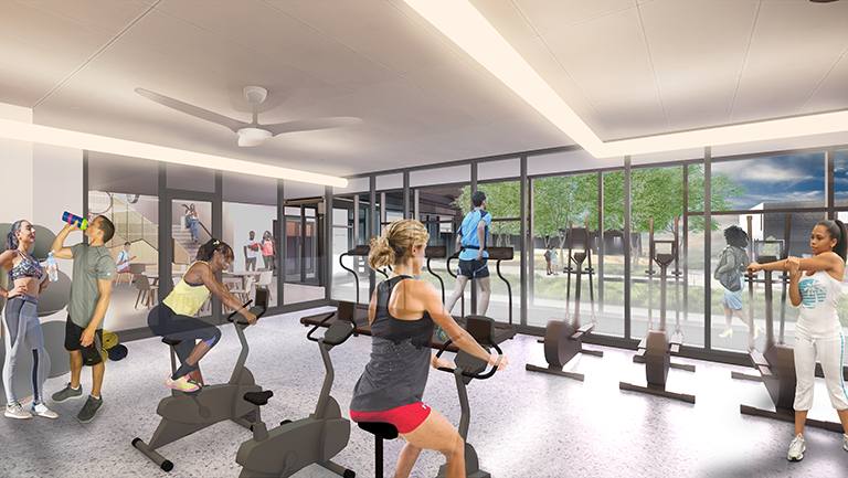 Rendering of the Gym in the South Cluster of the NRH