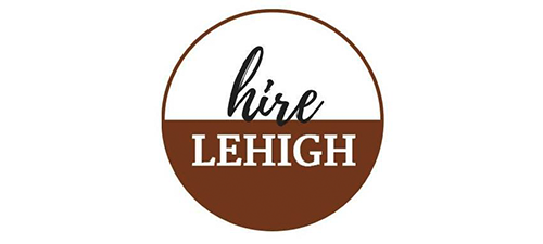 """Hire Lehigh"" brown and white logo used by the Lehigh Career and Professional Development Center"