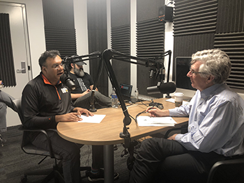 Khanjan Mehta in the studio with President Simon during the recording of the GO Getters podcast