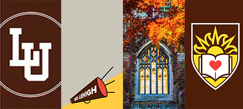 Lehigh phone wallpapers depicting, Lehigh logo, Lehigh megaphone, a stained glass wall surrounded by greenery, and the Lehigh seal
