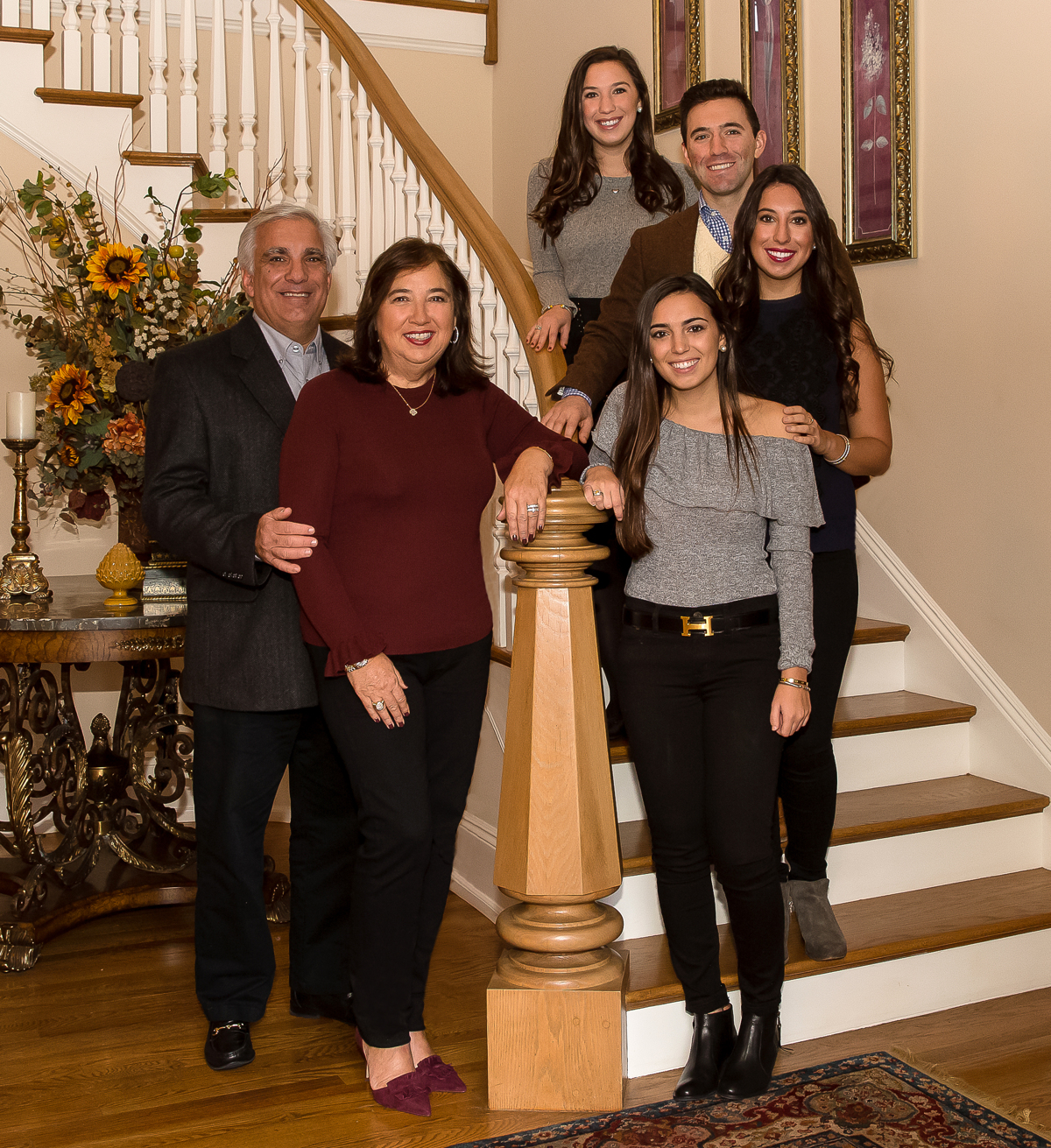 Image depicting the Maida family in their home: James '85 '17P '19P, Sharon '17P '19P, Alexis '19, Lindsay, Nicholas, and Lauren '17.